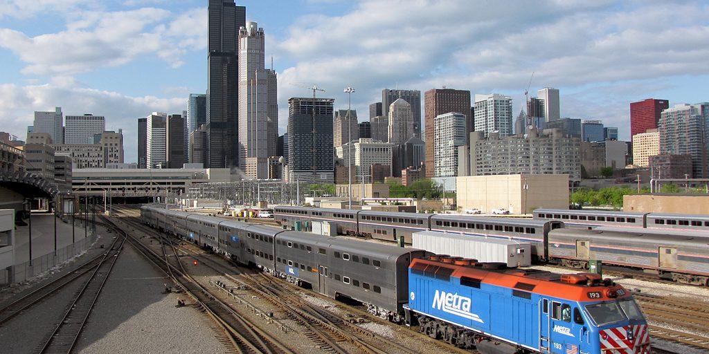 Metra Train leaving Chicago